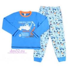 Пижама для мальчика К 1044/синий+техника на голубом