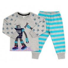 Пижама для мальчика К 1519/св.серо-голуб.меланж+бирюз.полоска
