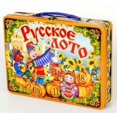 """Русское лото в жестяном чемоданчике """"Скоморохи"""" 01730"""