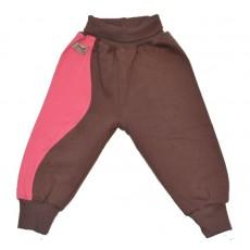 Теплые ползунки с открытой стопой. Розовый/коричневый
